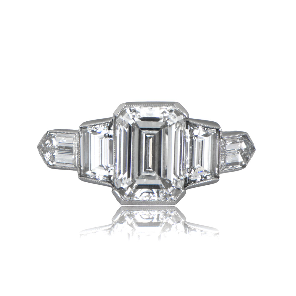 ring diamond engagement carat stone three dramatic emerald cut architect