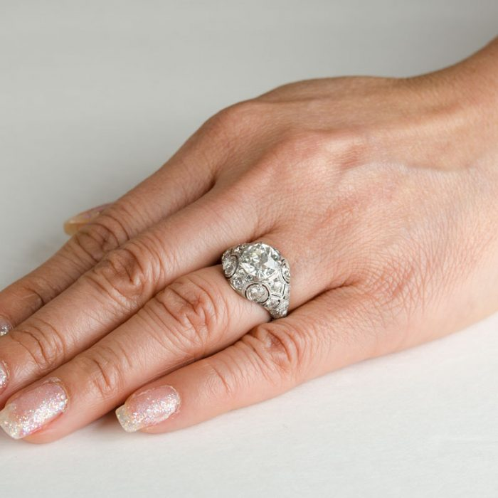Antiqiue Edwardian Filigree Ring on a Finger