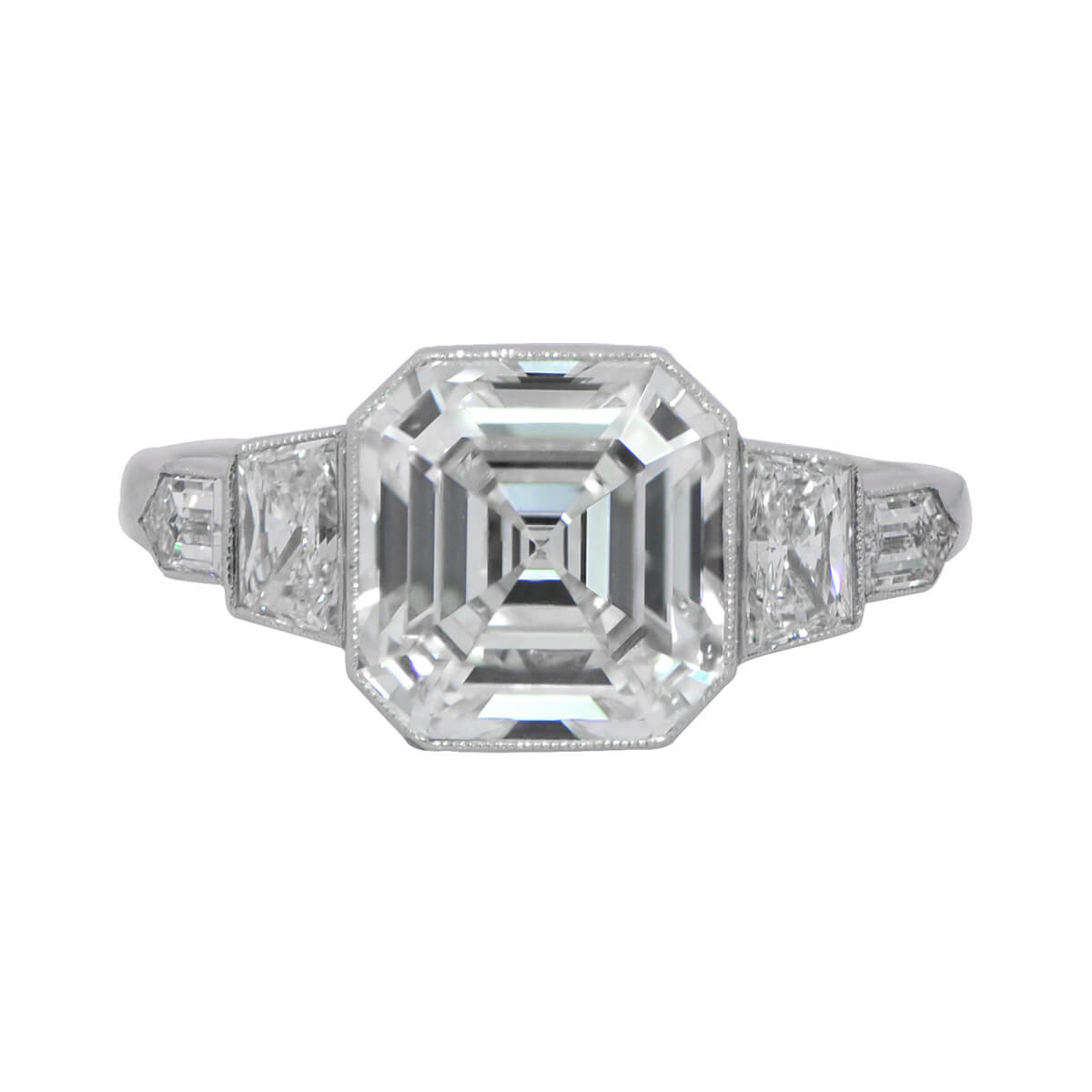 zaltas platinum diamond engagement cut ring asscher halo product rings