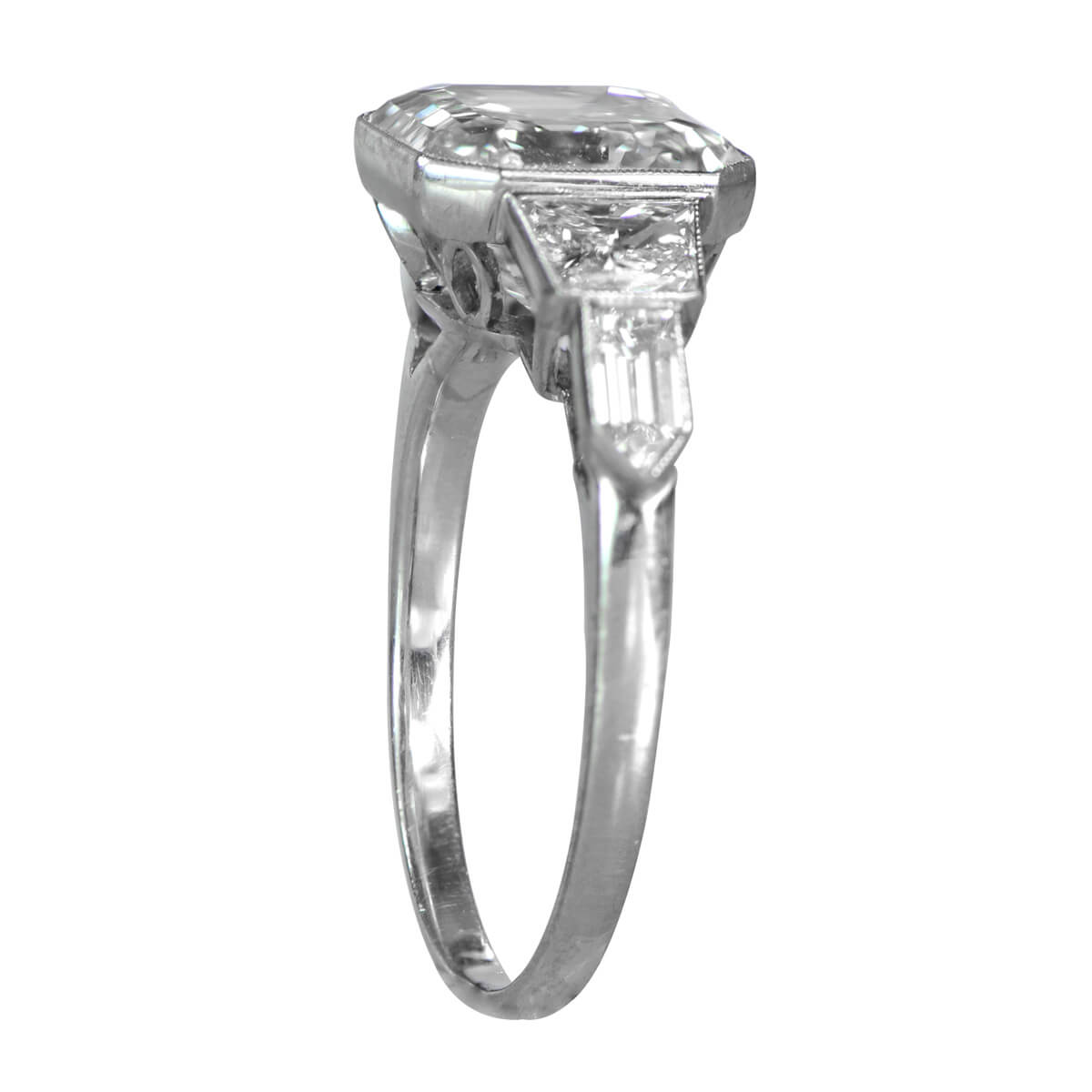 top cut product estate jewelry asscher side diamond vintage ring view