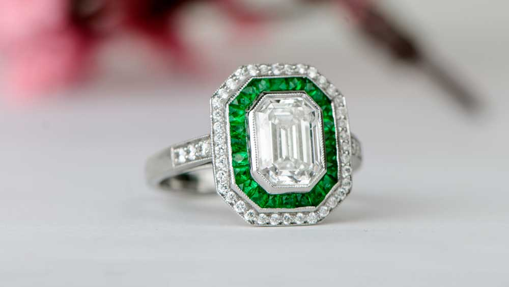 Emerald Cut Engagement Ring with Emerald Halo