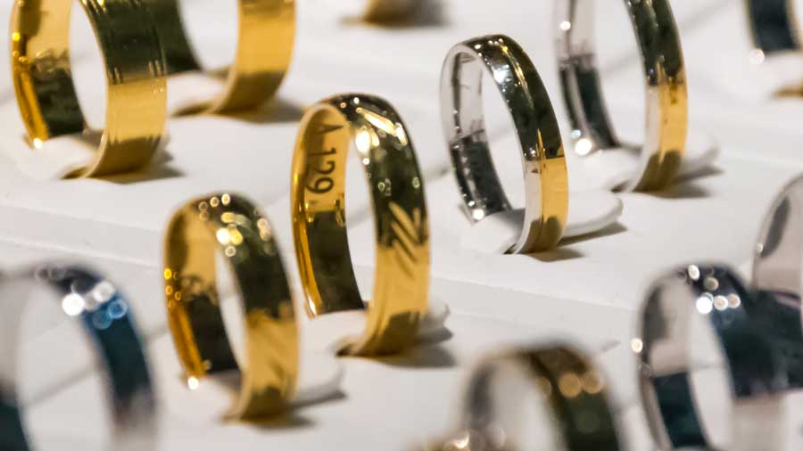 Gold Rings in Jewelry Store