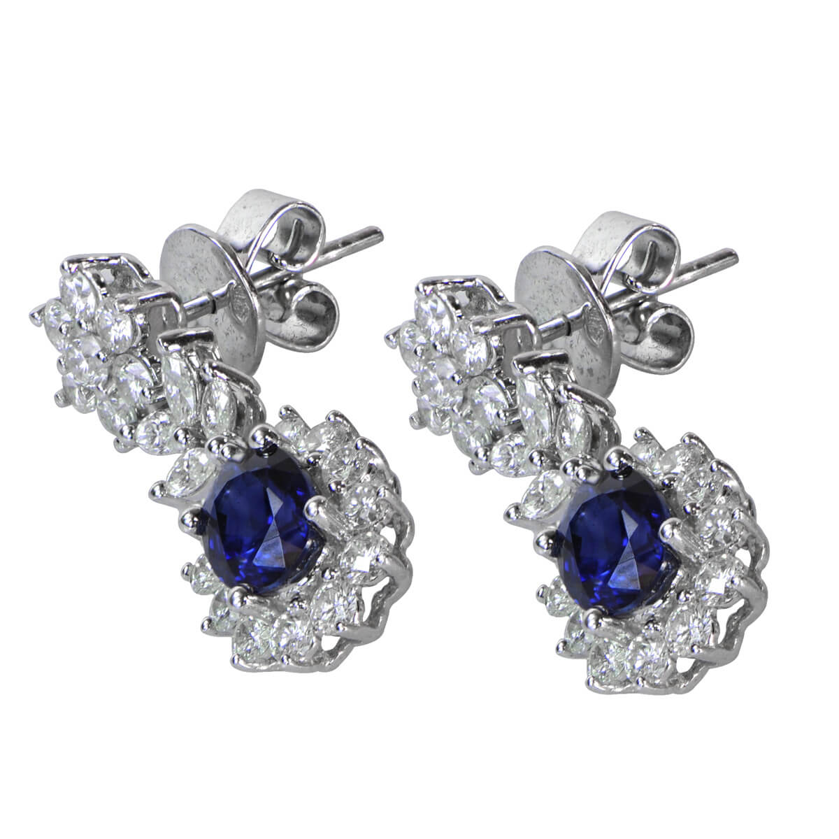 Vintage Style Diamond and Sapphire Earrings