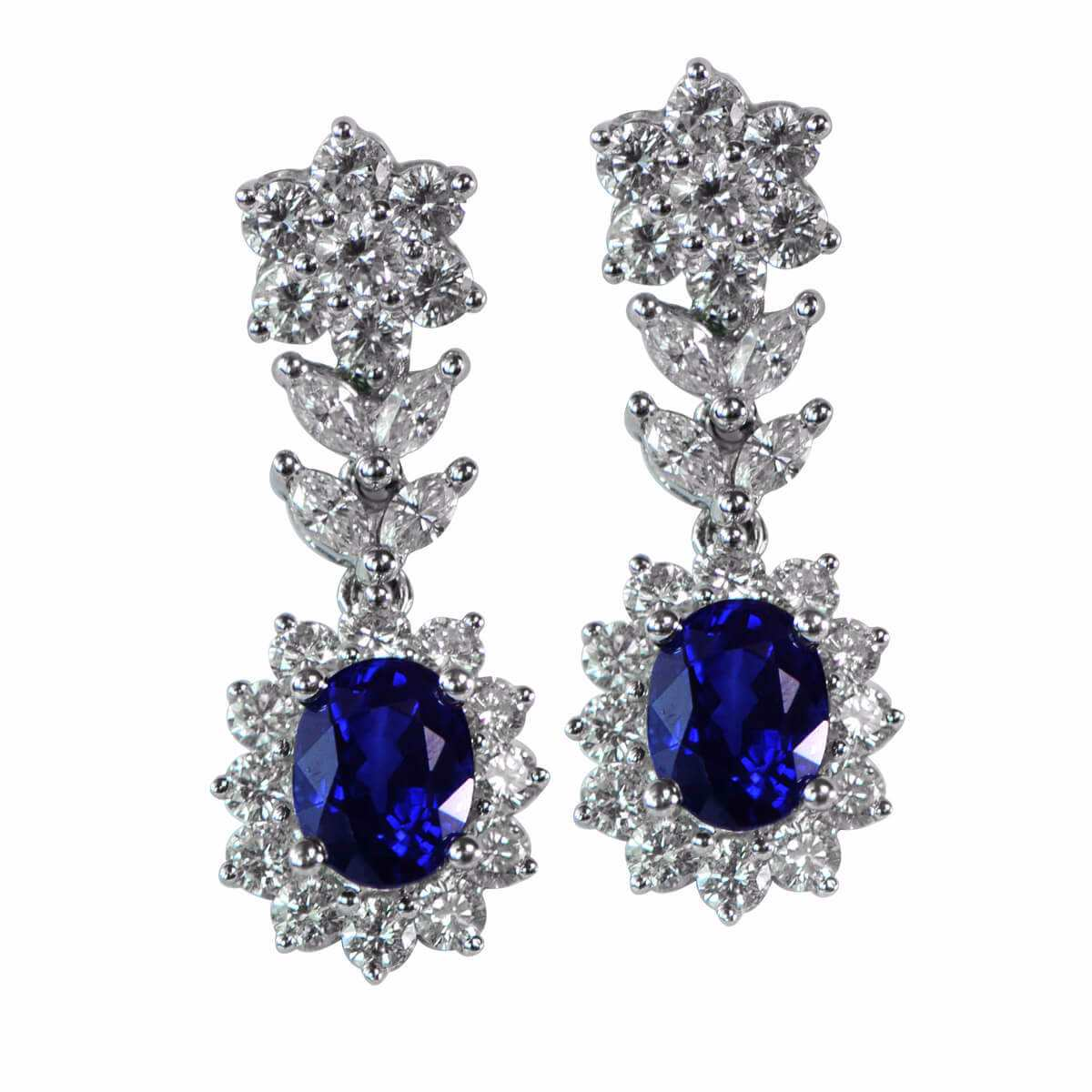 custom blue earrings sapphire front and drop diamond saphire