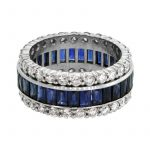 Diamond and Sapphire Wedding Band