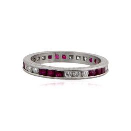 Platinum Diamond and Ruby Band