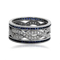 Sapphire and Diamond Infinity Wedding Band