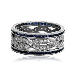 Sapphire and Diamond Infinity Wedding Band