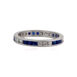 Stunning Platinum Diamond and Sapphire Band