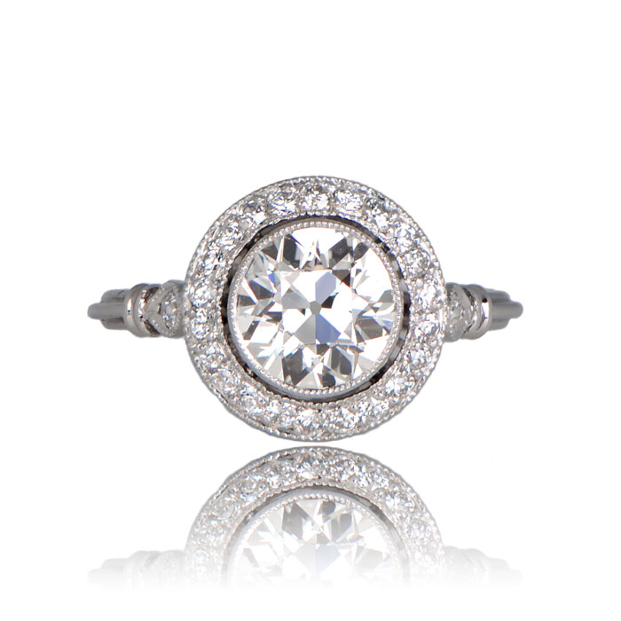 Front View of Old European Cut Diamond Halo Ring