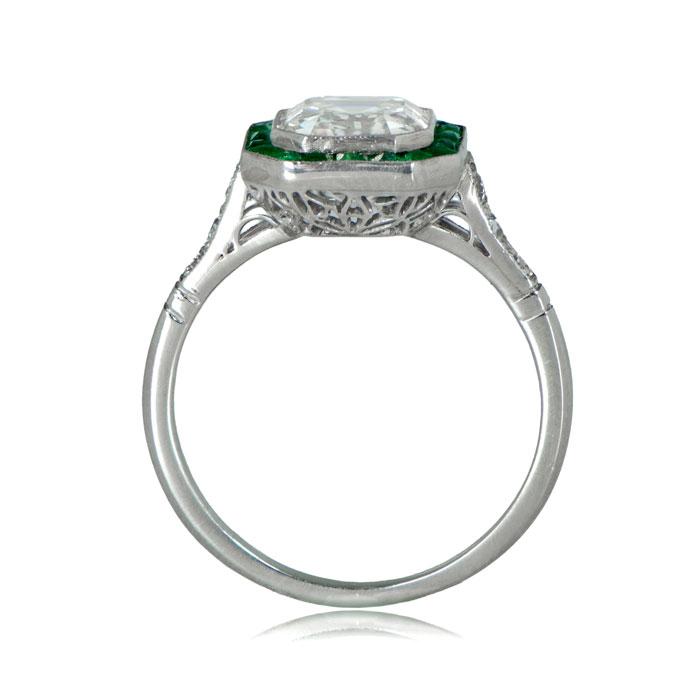 emerald halo asscher engagement ring estate jewelry