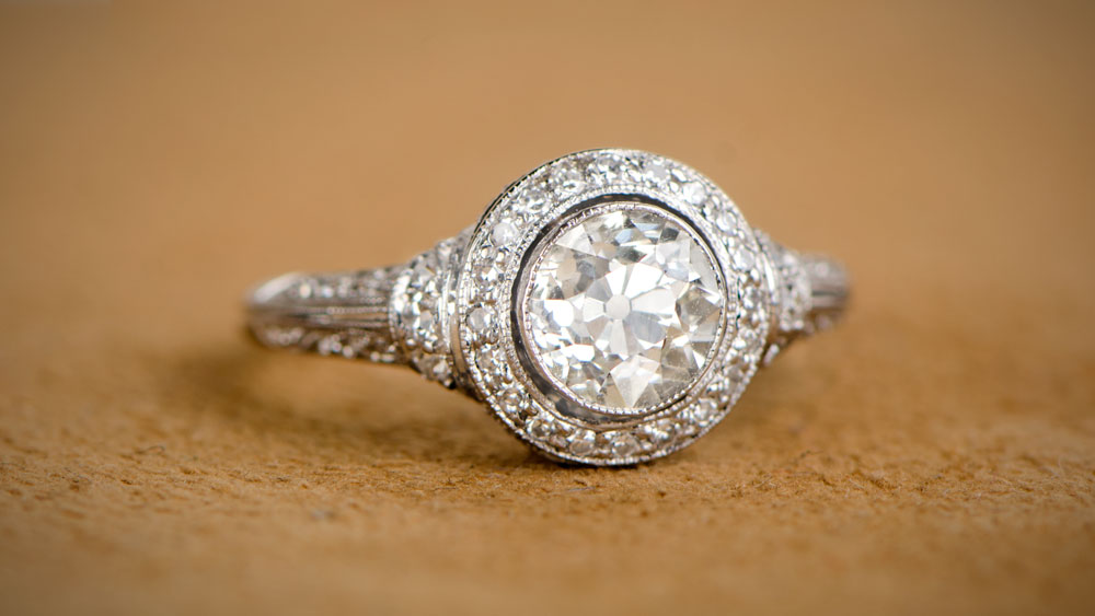 Low Profile Engagement Rings Estate Diamond Jewelry