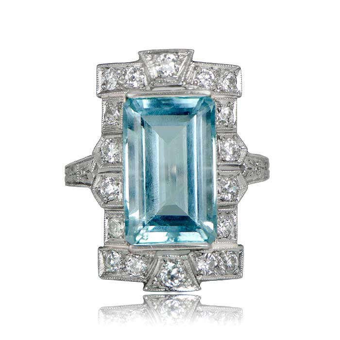 Rare Antique Aquamarine Ring Estate Diamond Jewelry