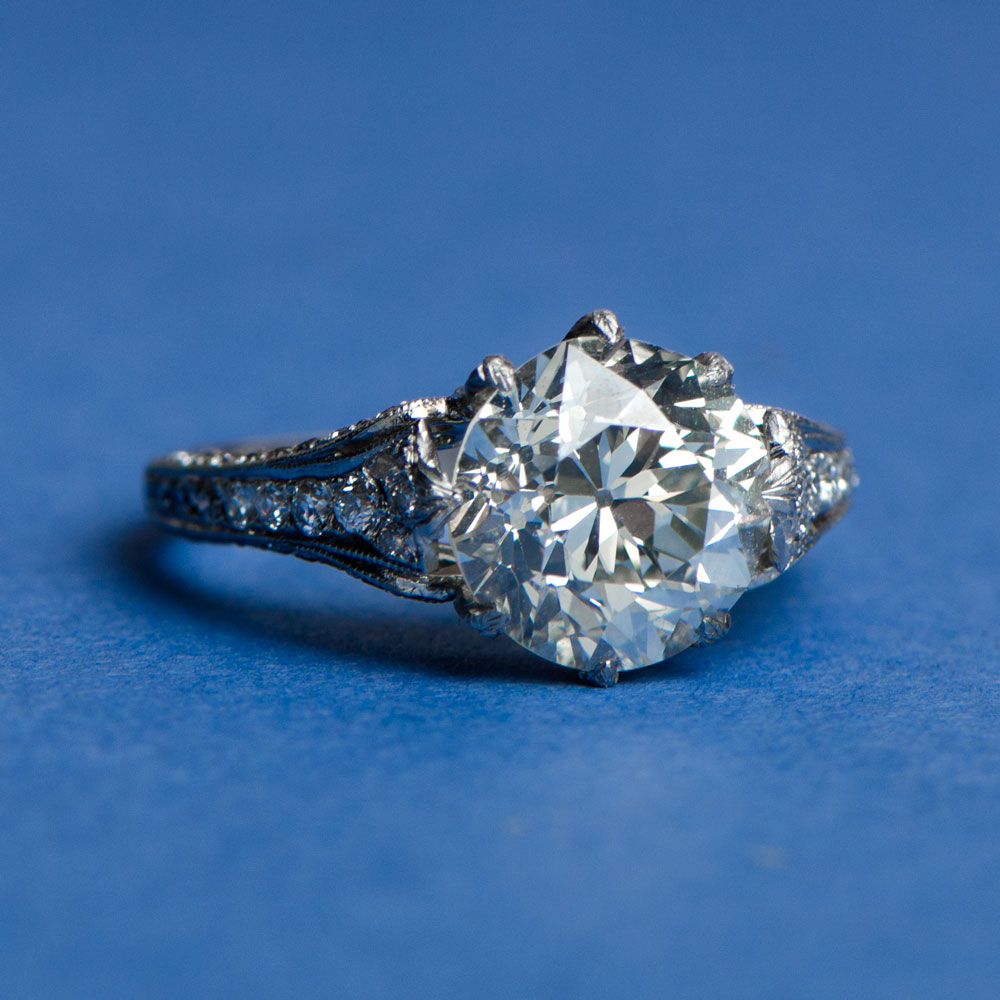 Engagement Ring on blue background