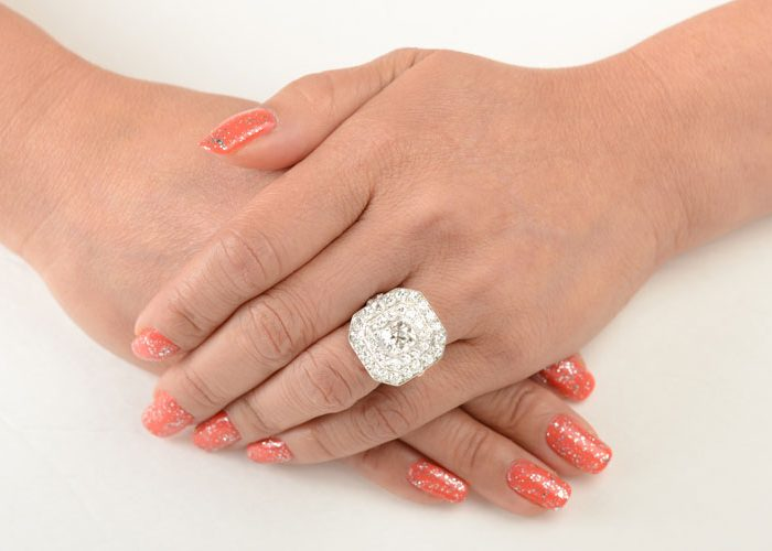 Antique Double Halo Ring on Hand