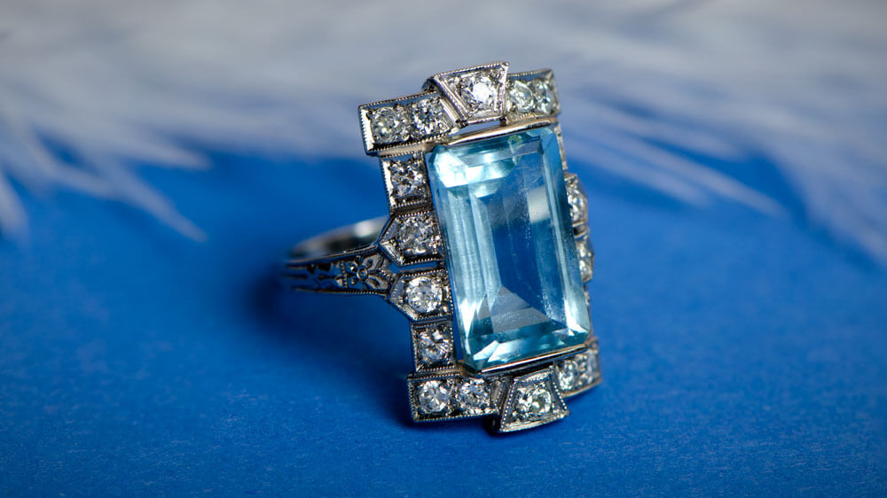 Aquamarine Halo Engagement Ring with feathers