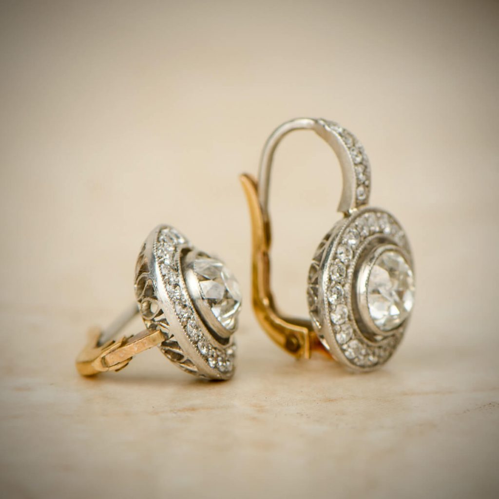 Diamond Halo Earrings on Tile