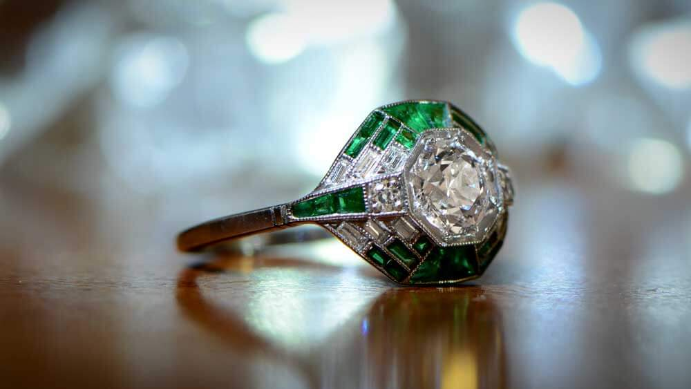 Diamond and Emerald Engagement Ring