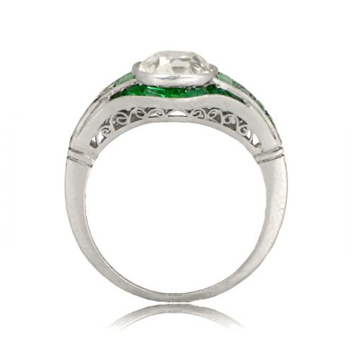 Side View Diamond and Emerald Engagement Ring
