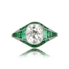 Top View Diamond and Emerald Engagement Ring