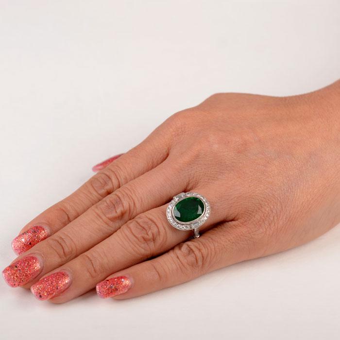 4 87ct Brunoy Emerald Ring Estate Diamond Jewelry