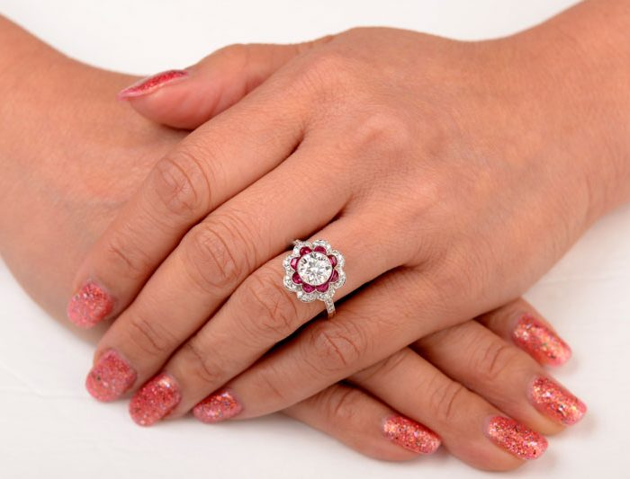 Ruby Floral Ring Hand Picture