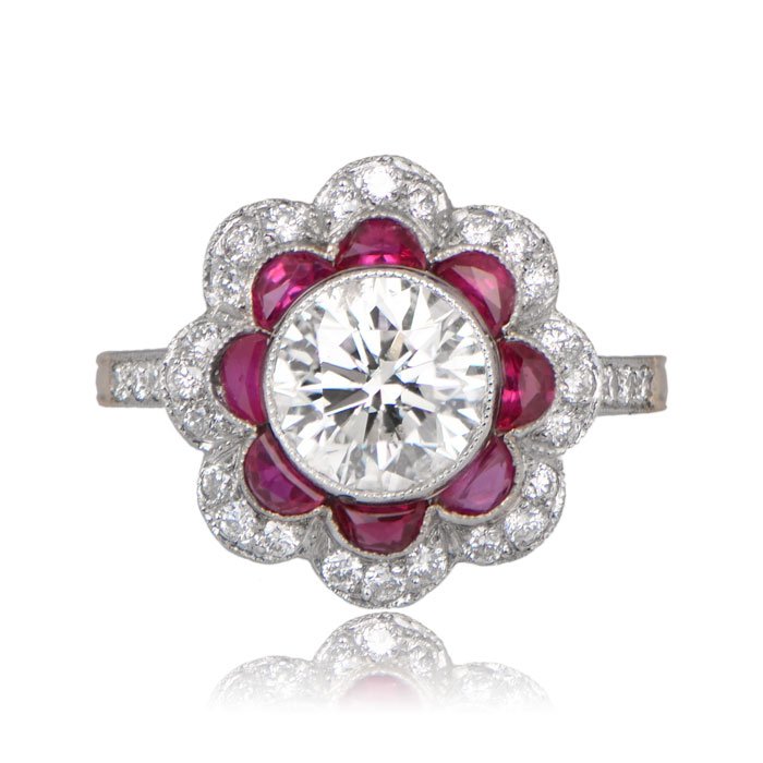 1.51ct Ruby Floral Engagement Ring