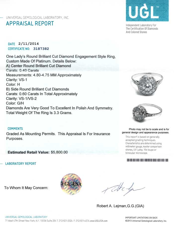 A Ugl Jewelry Appraisal Is Intended As Guide To Any Piece Of Taken Them For And Valuation