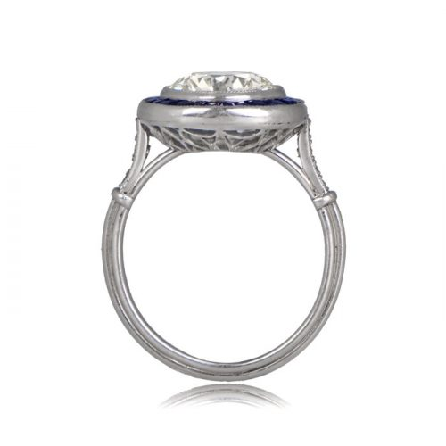 Side profile view of diamond sapphire ring triple wire