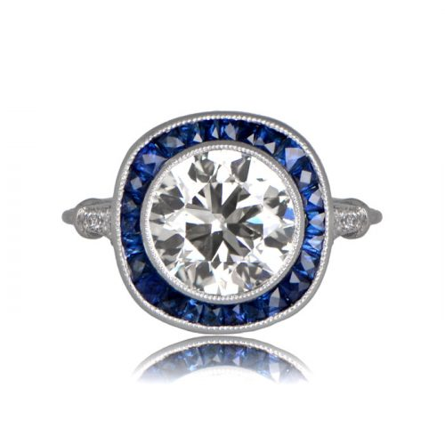 Front view of diamond brilliance with sapphire halo