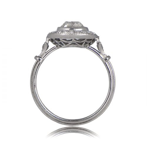 Side Profile of Cushion cut Halo gallery Engagement ring