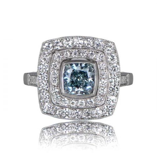 Luxembourg Blue Diamond Ring Front View