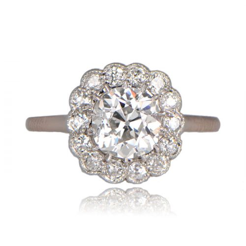 Front image of Eura ring with floral halo diamonds