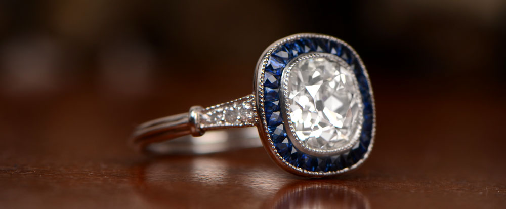 Yale engagement ring on brown background