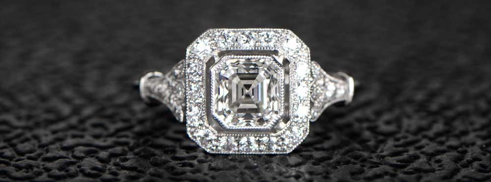 Asscher Cut Diamond Ring on Black BG