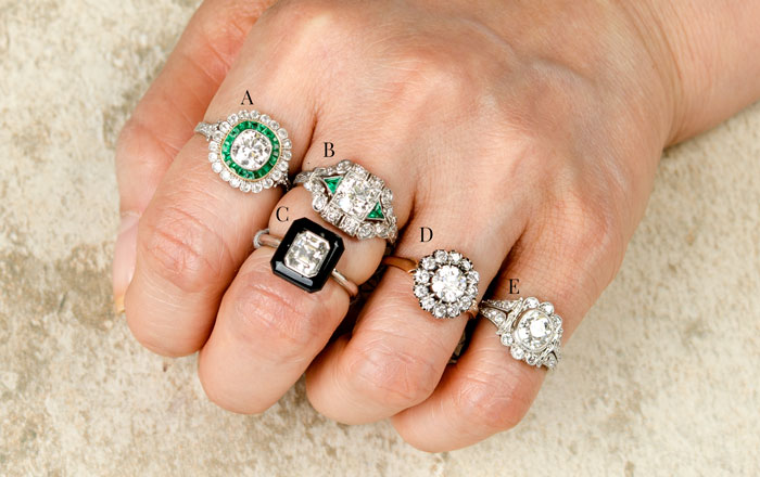 Different carat weight rings on finger