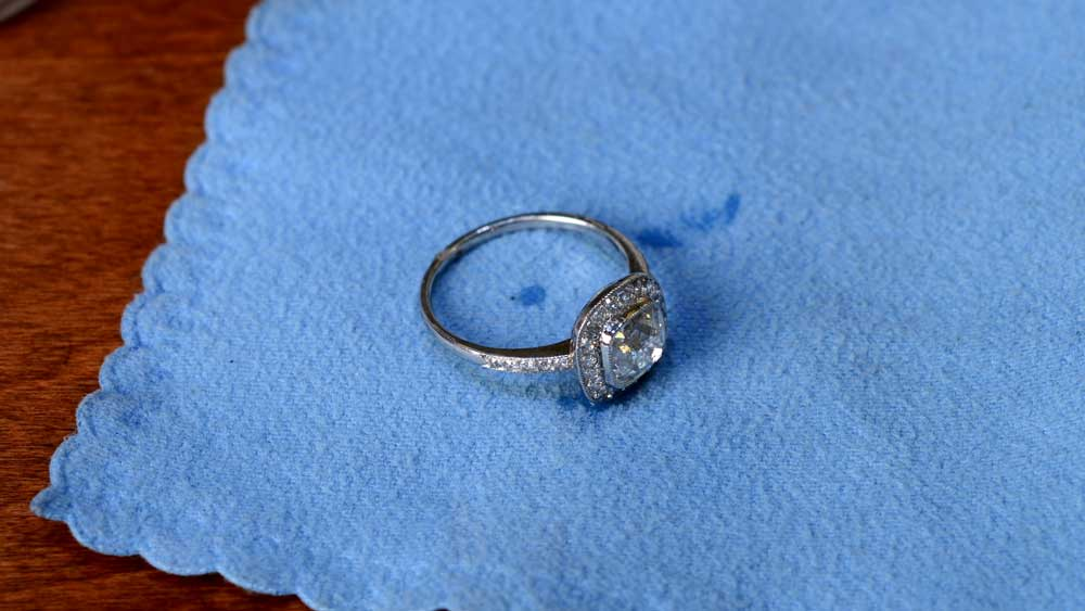 Diamond Engagement Ring on Cleaning Cloth