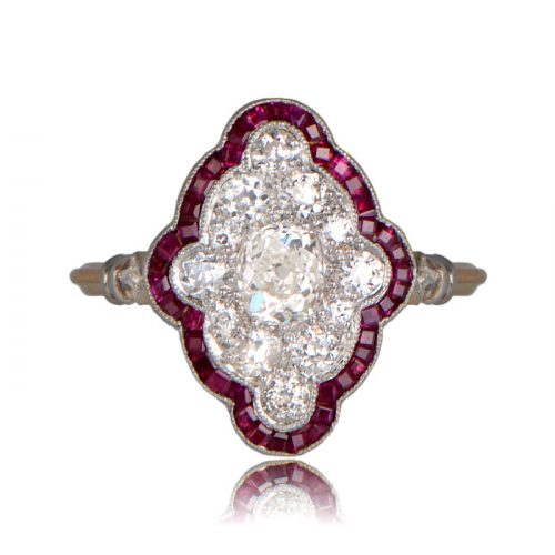 Front view of Tufton Ring with Ruby Halo