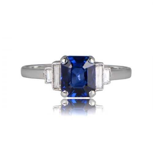 Atlantic Sapphire Ring with Diamonds on shoulders