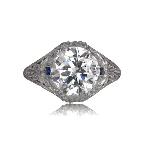 Curel Edwardian Ring from front with old european diamond