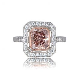 Fancy Color Brown-Pink Diamond Ring Top View