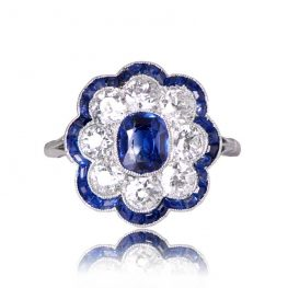 1920's Antique Sapphire ring Top View