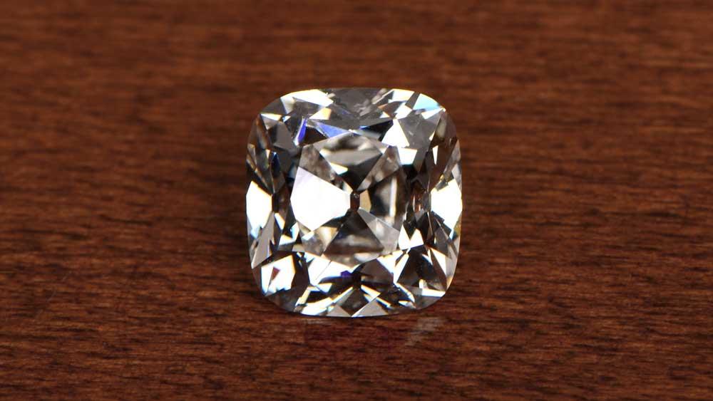 Antique Cushion Cut K Color Diamond