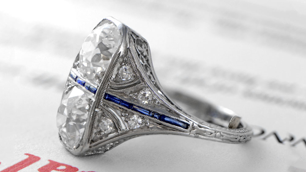 Antique Two-Stone Diamond Engagement Ring