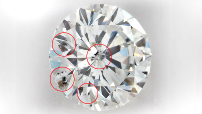 Diamond Clarity Example Red Circles