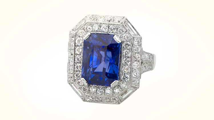 Tanzanite Ring with Halo of Diamonds