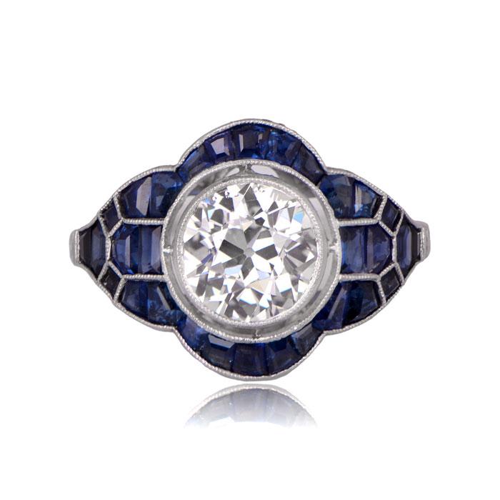 Evora Ring - Sapphire and Diamond Top Side