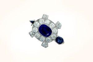 Turtle Brooch with Old Mine Cut Diamonds