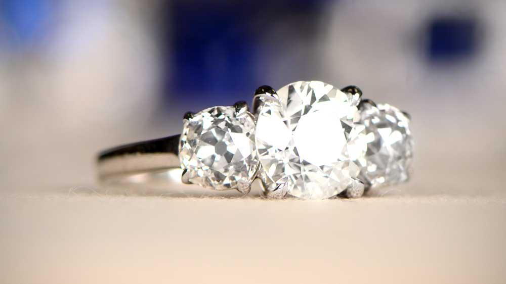 Three Stone Prong Set Engagement Ring