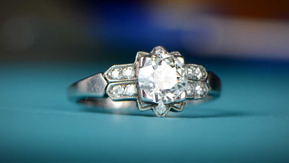 April Birthstone Diamond Ring